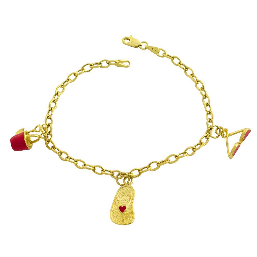 14k Yellow Gold Charm Bracelet: Shop Fremada 14k Yellow Gold And Enamel Cable Link Charm