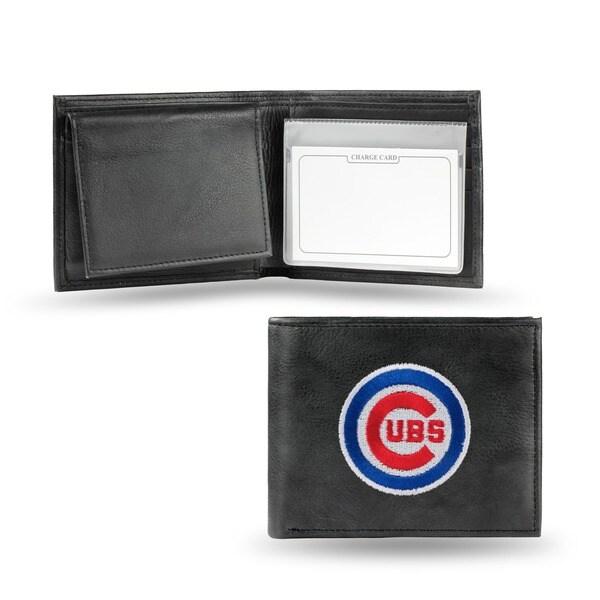 Chicago Cubs Men's Black Leather Bi-fold Wallet