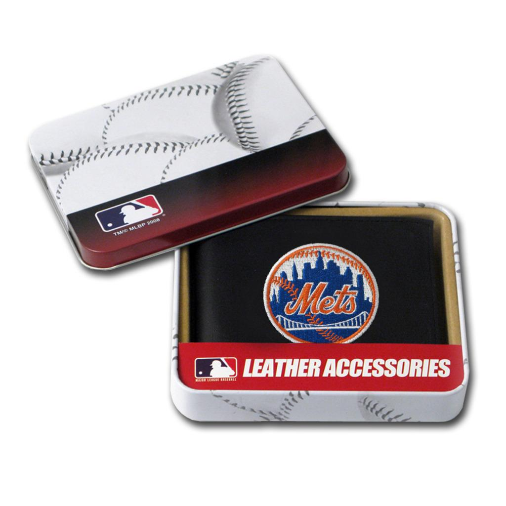 New York Mets Men's Black Leather Bi-fold Wallet