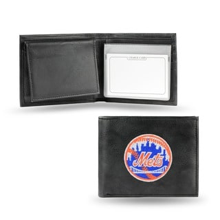 New York Mets Men's Black Leather Bi-fold Wallet