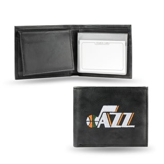 Utah Jazz Men's Black Leather Bi-fold Wallet