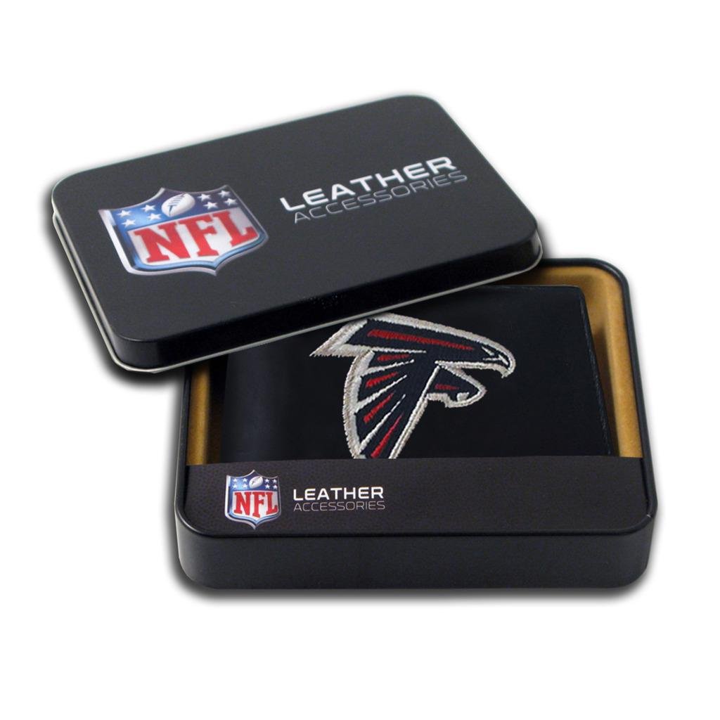 Atlanta Falcons Men's Black Leather Bi-fold Wallet