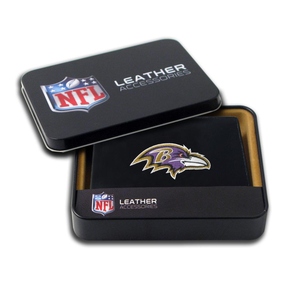 Baltimore Ravens Men's Black Leather Bi-fold Wallet