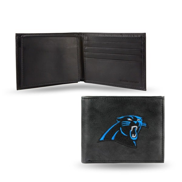 Carolina Panthers Men's Black Leather Bi-fold Wallet