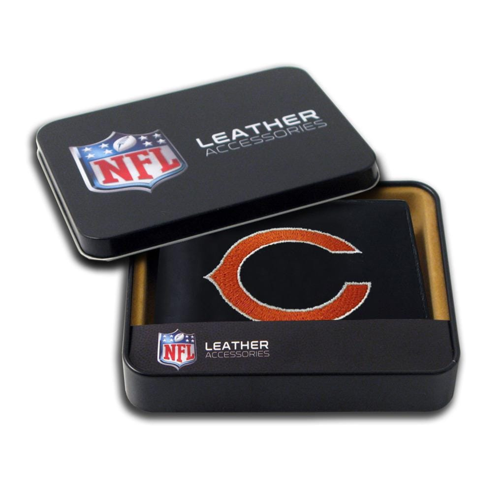 Chicago Bears Men's Black Leather Bi-fold Wallet