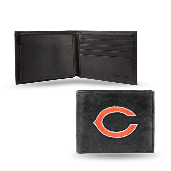 Chicago Bears Men's Black Leather Bi-fold Wallet