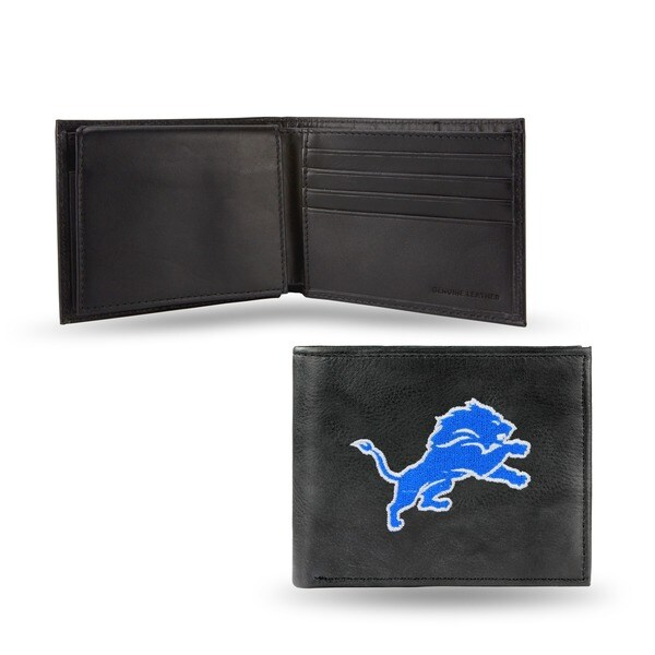 Detroit Lions Men's Black Leather Bi-fold Wallet