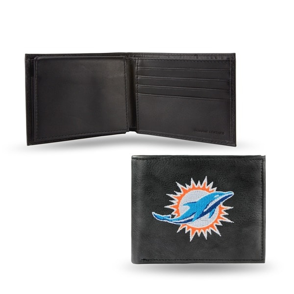 Miami Dolphins Men's Black Leather Bi-fold Wallet