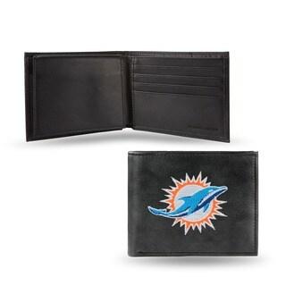 Miami Dolphins Men's Black Leather Bi-fold Wallet