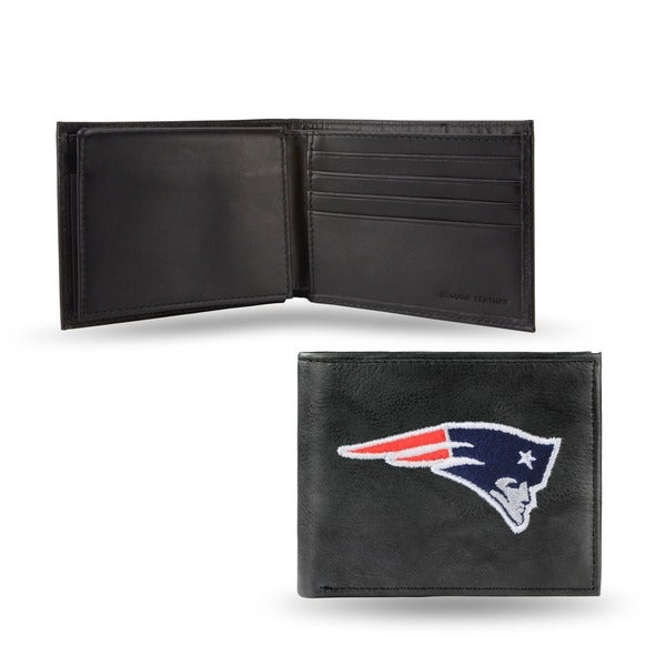 New England Patriots Men's Black Leather Bi-fold Wallet