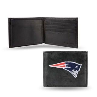 New England Patriots Men's Black Leather Bi-fold Wallet