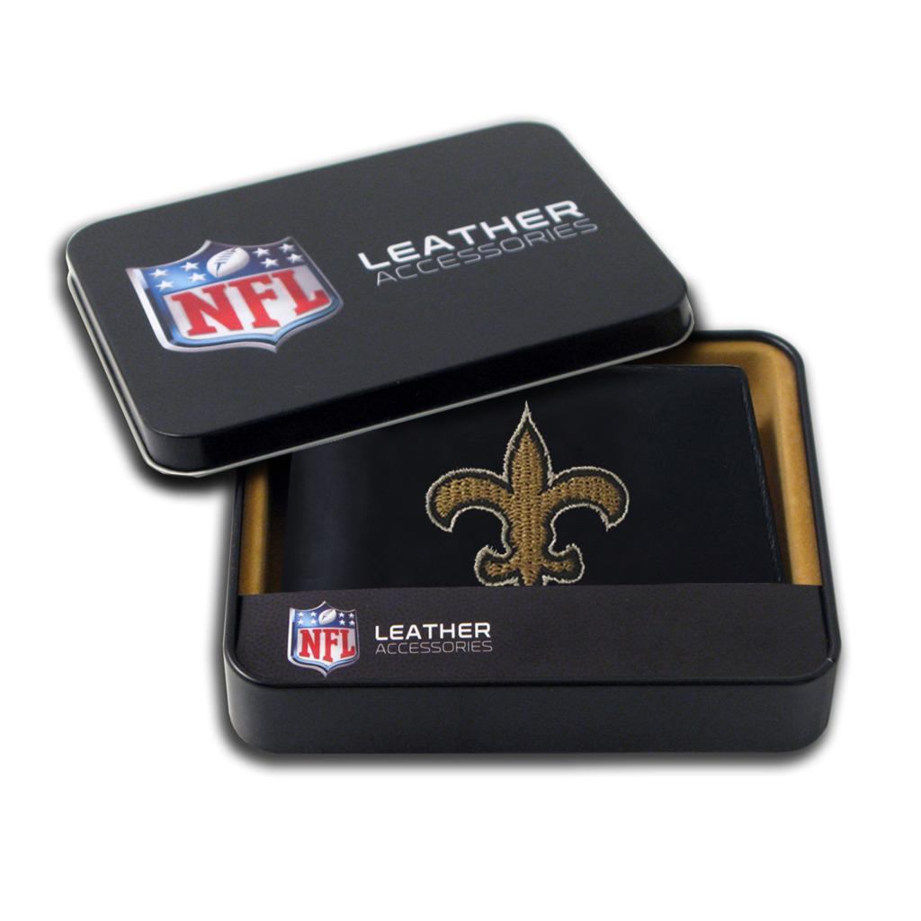 New Orleans Saints Men's Black Leather Bi-fold Wallet