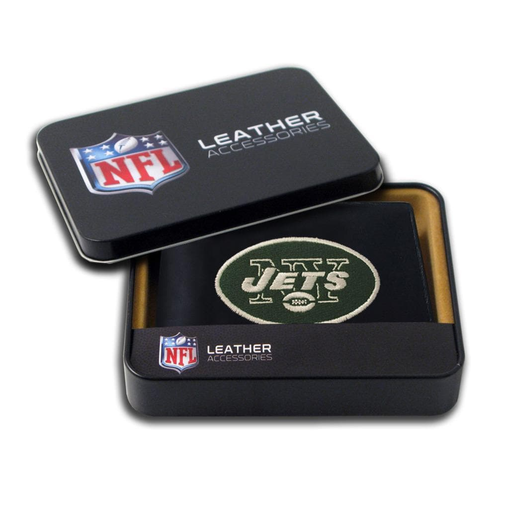 New York Jets Men's Black Leather Bi-fold Wallet
