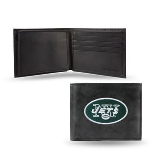 New York Jets Men's Black Leather Bi-fold Wallet