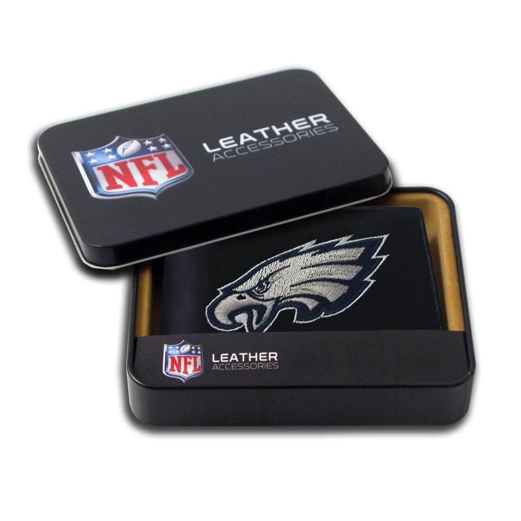 Philadelphia Eagles Men's Black Leather Bi-fold Wallet