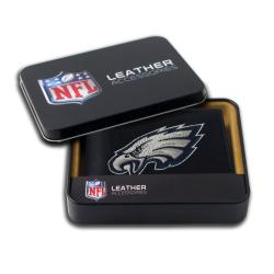 Philadelphia Eagles Men's Black Leather Bi-fold Wallet - Thumbnail 1