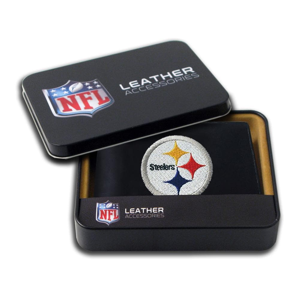 Pittsburgh Steelers Men's Black Leather Bi-fold Wallet - Thumbnail 0