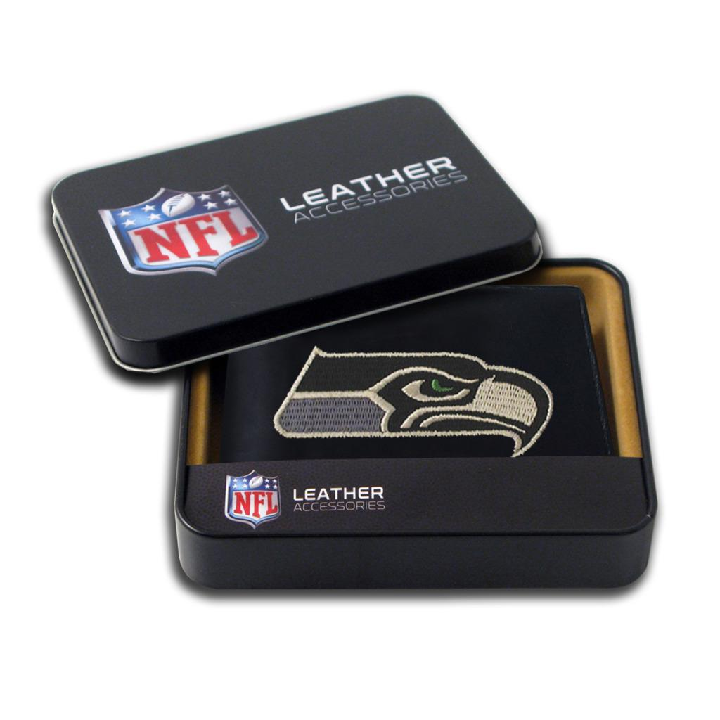 Seattle Seahawks Men S Black Leather Bi Fold Wallet Free