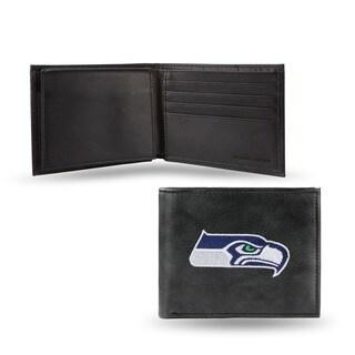 Seattle Seahawks Men's Black Leather Bi-fold Wallet