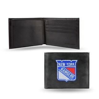 New York Rangers Men's Black Leather Bi-fold Wallet