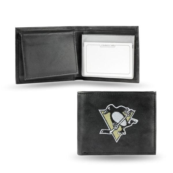 Pittsburgh Penguins Men's Black Leather Bi-fold Wallet