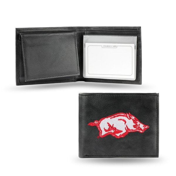 Arkansas Razorbacks Men's Black Leather Bi-fold Wallet
