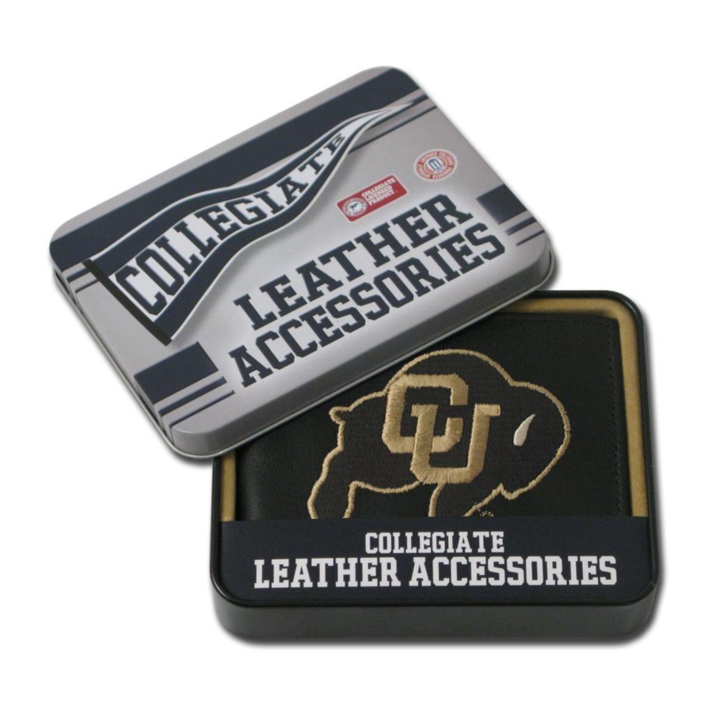 Colorado Buffaloes Men's Black Leather Bi-fold Wallet