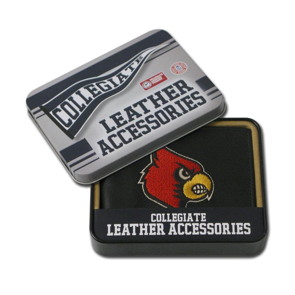 Louisville Cardinals Men's Black Leather Bi-fold Wallet