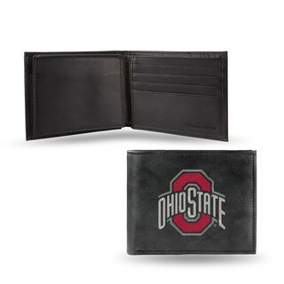 Ohio State Buckeyes Men's Black Leather Bi-fold Wallet