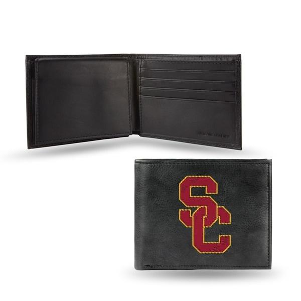 USC Trojans Men's Black Leather Bi-fold Wallet