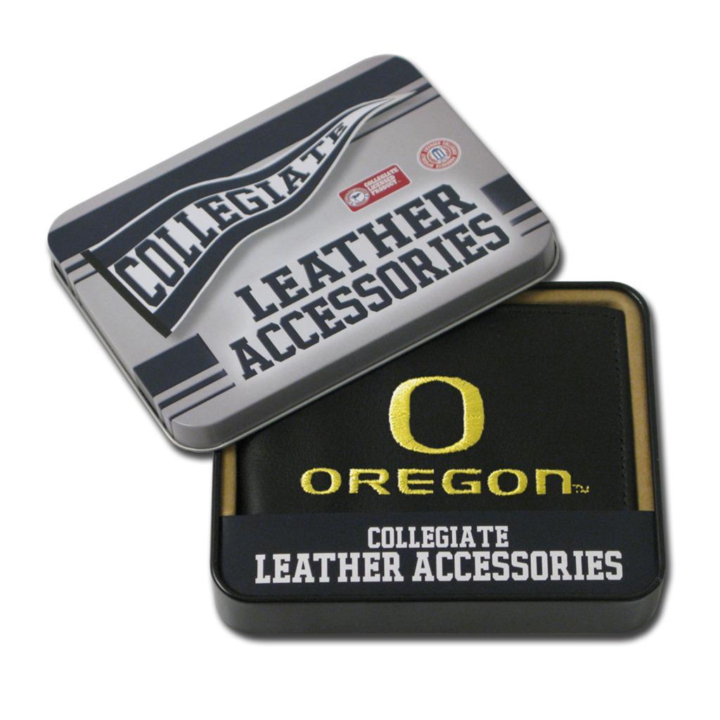 Oregon Ducks Men's Black Leather Bi-fold Wallet