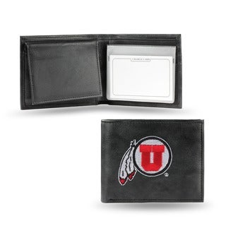 Utah Utes Men's Black Leather Bi-fold Wallet