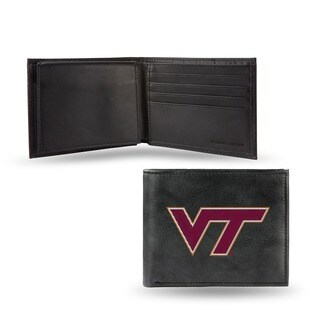 Virginia Tech Hokies Men's Black Leather Bi-fold Wallet