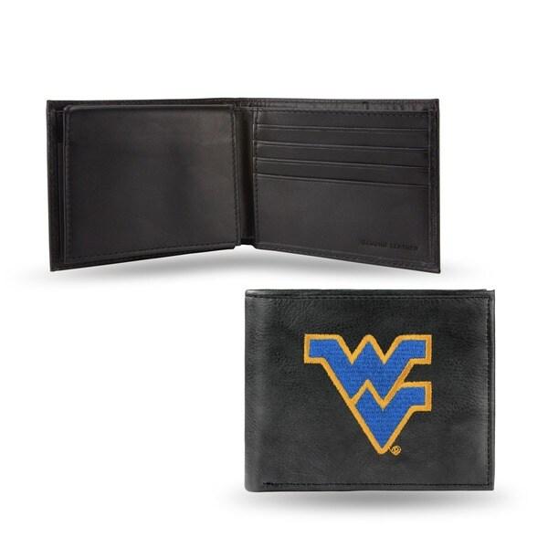 West Virginia Mountaineers Men's Black Leather Bi-fold Wallet