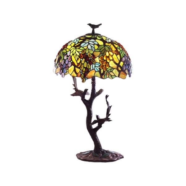 Tiffany-style Grapes/ Birds Mosaic Table Lamp
