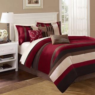 Madison Park Boulder Red Stripe 7-piece Comforter Set
