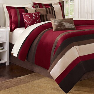 Madison Park Boulder Red Stripe 7-piece Comforter Set