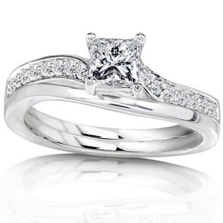 Annello by Kobelli 14k White Gold 1/2ct TDW Diamond Bridal Ring Set