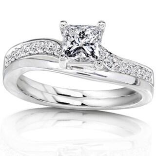 Annello by Kobelli 14k White Gold 3/4ct TDW Diamond Bridal Ring Set