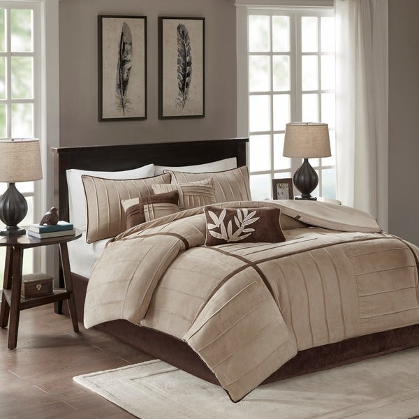 Madison Park Dune Beige/ Brown 7-piece Contemporary Comforter Set