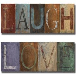 Patricia Pinto 'Laugh and Love' 2-piece Canvas Art Set