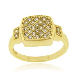 Icz Stonez 18k Gold over Sterling Silver Micro Pave Cubic Zirconia Square Ring (5 options available)