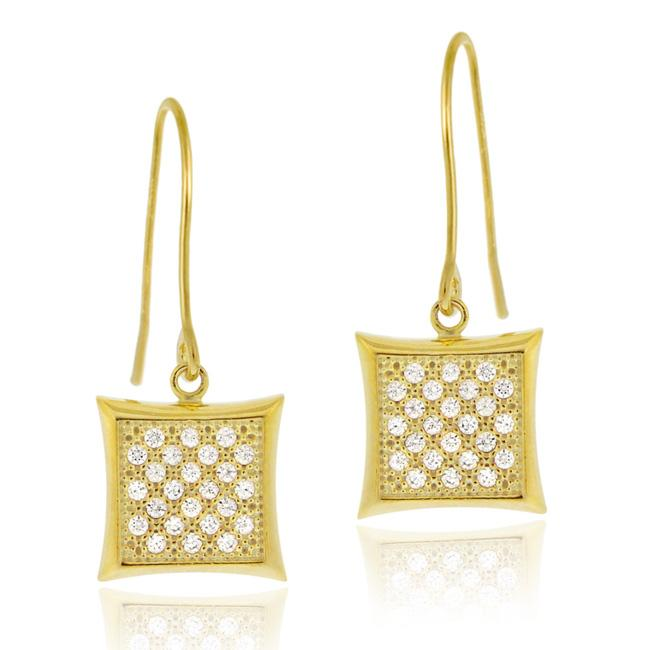 Icz Stonez 18k Gold over Silver Micro Pave Cubic Zirconia Square Dangle Earrings