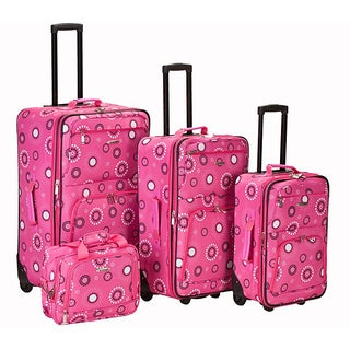 Rockland Designer Pink Pearl Expandable 4-piece Luggage Set