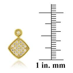Icz Stonez 18k Gold over Silver Micro Pave Cubic Zirconia Diamond-shaped Earrings - Thumbnail 2