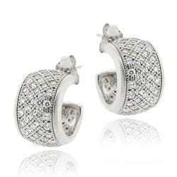 Icz Stonez Sterling Silver Micro Pave Cubic Zirconia Half Hoop Earrings