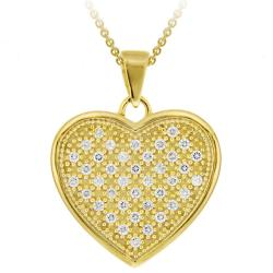 Icz Stonez 18k Gold over Sterling Silver Micro Pave Cubic Zirconia Heart Necklace