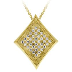 Icz Stonez 18k Gold over Silver Micro Pave Cubic Zirconia Diamond-shaped Necklace