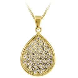 Icz Stonez 18k Gold over Silver Micro Pave Cubic Zirconia Teardrop Necklace
