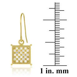 Icz Stonez 18k Gold over Silver Micro Pave Cubic Zirconia Square Dangle Earrings - Thumbnail 2
